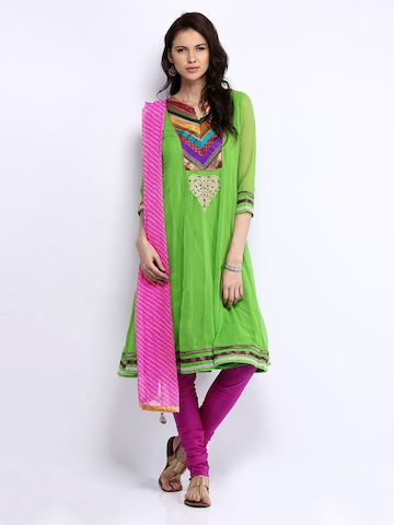 Rain & Rainbow Women Green & Magenta Churidar Kurta with Dupatta at myntra