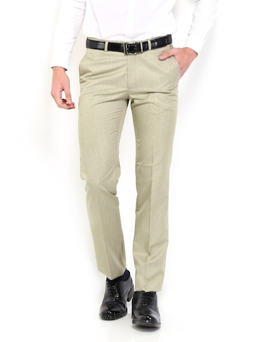 Raymond Men Beige Contemporary Fit Formal Trousers
