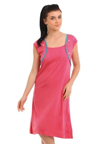 Red Rose Women Pink Nightdress