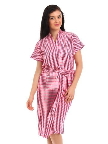 Red Rose Women White & Pink Striped Bath Robes