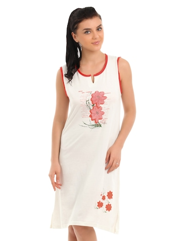 Red Rose Women Off White Nightdress