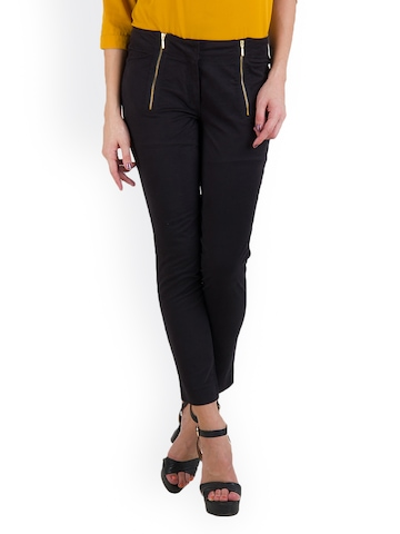Rider Republic Women Black Slim Fit Trousers at myntra