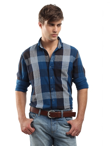Roadster Men Blue and Black Reversible Shirt