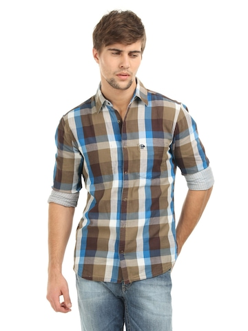 Roadster Men Brown and White Reversible Shirt