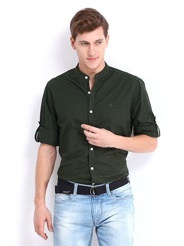 Buy Roadster Men Dark Olive Green Romain Casual Shirt - Shirts for ...