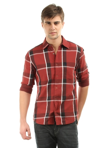 Roadster Men Red Reversible Checked Shirt