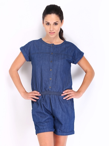 Roadster Women Blue Denim Playsuit