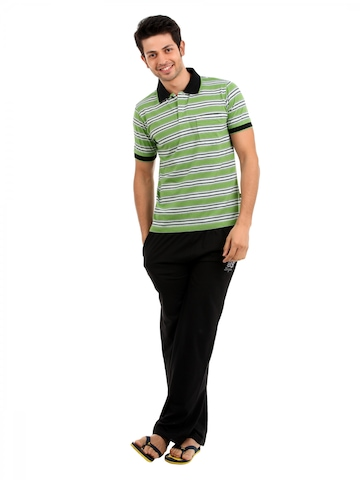 SDL by Sweet Dreams Men Green & Black Pyjama Set