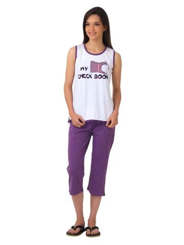 SDL by Sweet Dreams Purple & White Pyjama Set