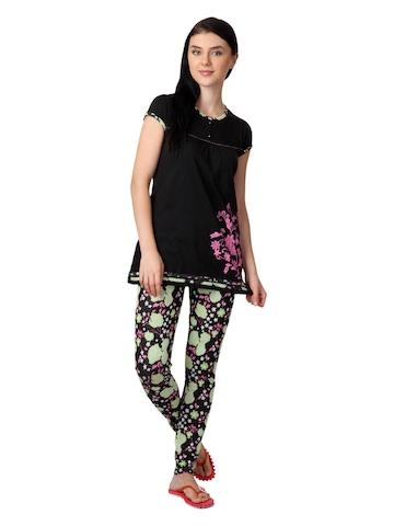 SDL by Sweet Dreams Women Black Printed Night Suit 319371