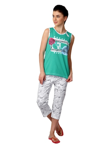 SDL by Sweet Dreams Women Green & White Printed Night Suit S11-3134
