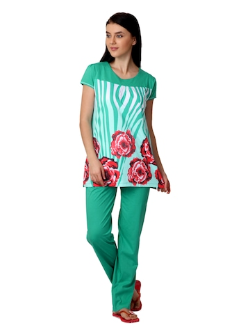 SDL by Sweet Dreams Women Green Printed Night Suit S11-3219