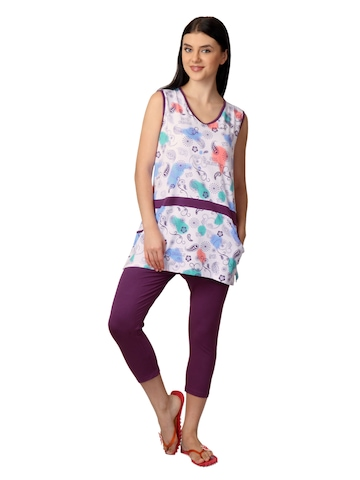 SDL by Sweet Dreams Women Pink & Purple Printed Night Suit S11-3225