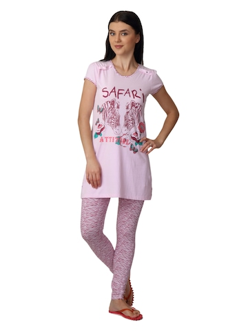 SDL by Sweet Dreams Women Pink Printed Night Suit S11-3240