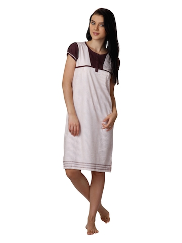 SDL by Sweet Dreams Women White Printed Nightdress