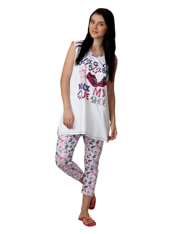 SDL by Sweet Dreams Women White Printed Night Suit S11-3229