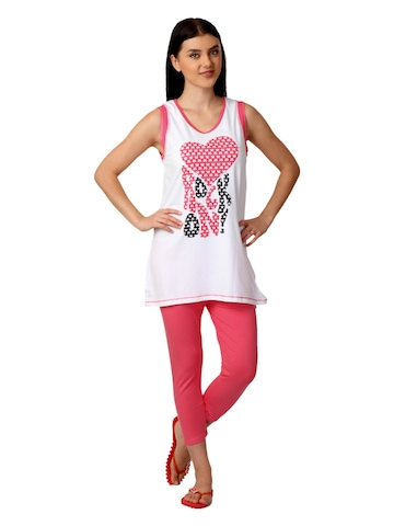 SDL by Sweet Dreams Women White & Pink Printed Night Suit S11-3231