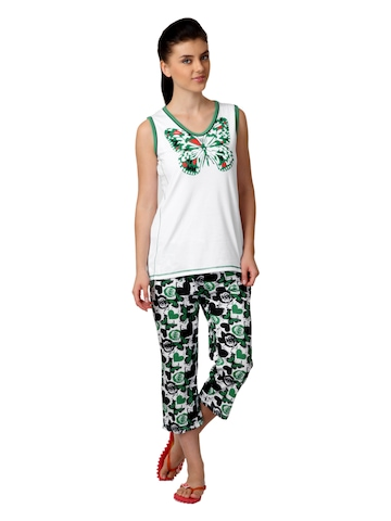 SDL by Sweet Dreams Women Green Printed Night Suit S11-3124
