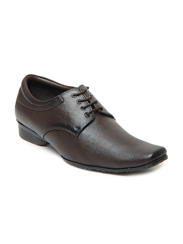 San Frissco Men Darkest Brown Leather Formal Shoes at myntra