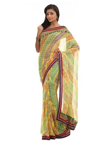 Satrang Yellow Fashion Saree