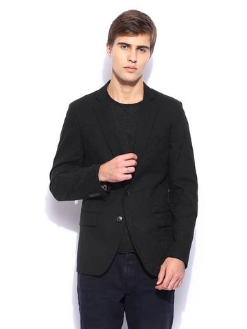 Scotch & Soda Men Black Slim Fit Blazer