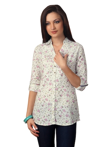 Scullers For Her Women White Printed Shirt