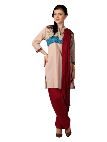 Shree Women Beige and Red Salwar Suit