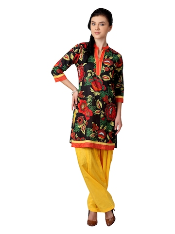 Shree Women Black and Yellow Patiala Kurta Set
