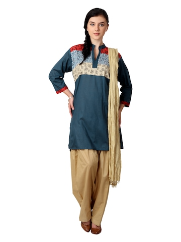Shree Women Navy Blue and Beige Salwar Suit