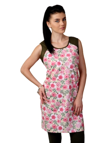 Shree Women Pink and Olive Printed Kurta