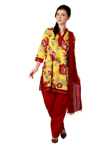 Shree Women Yellow and Red Salwar Suit