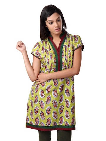 Souchi Women Printed Green Kurta