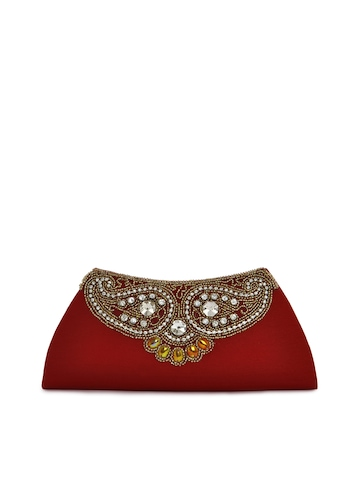 Spice Art Women Beads Red Clutch