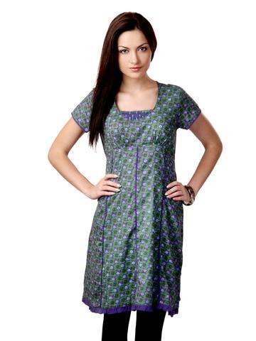Sritika Women Green and Purple Kurta