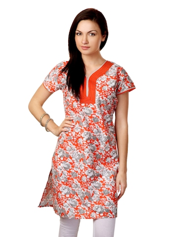 Sritika Women Grey and Orange Print Kurta