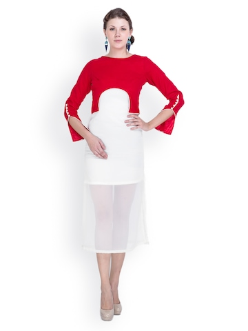 Sugar Her Red & White Midi Dress