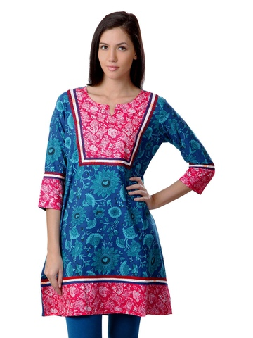 Sushilas Women Printed Blue Kurta