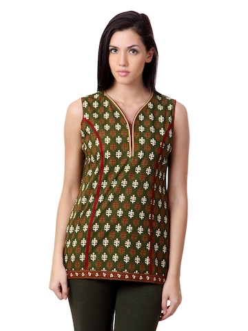 Sushilas Women Printed Green Kurti