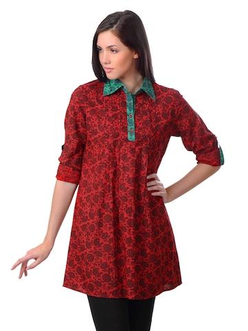 Sushilas Women Printed Red Kurta