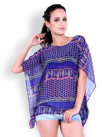 The Gud Look Women Blue Printed Kaftan Top