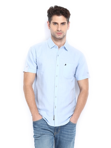 Buy The Indian Garage Co Men Light Blue Linen Blend Slim Fit Casual ...