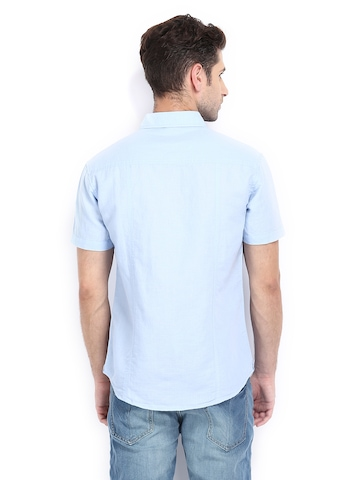 ... Indian Garage Co Men Blue Linen Blend Slim Fit Casual Shirt-men shirts