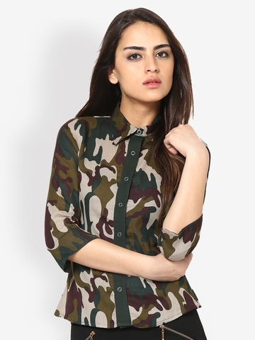 The Vanca Women Green Camo Print Shirt at myntra