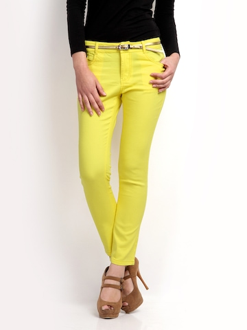 The Vanca Women Yellow Slim Fit Jeans at myntra