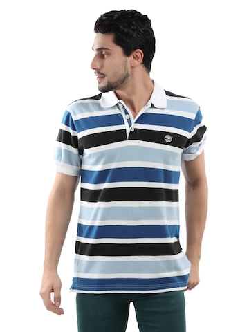 Timberland Men Blue & White Striped Polo T-shirt
