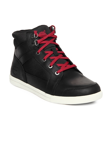buy timberland men black leather casual shoes  632