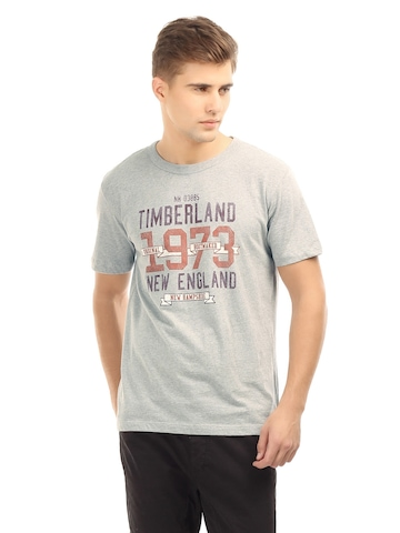Timberland Men Grey Printed T-Shirt