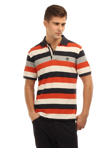 Timberland Men Striped Blue and Orange T-Shirt