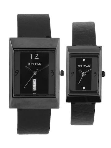 Titan Him & Her Black Watches