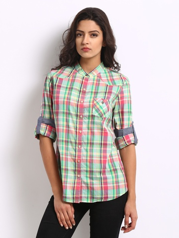 Online shopping at myntra india 39 s largest fashion and for Womens green checked shirt